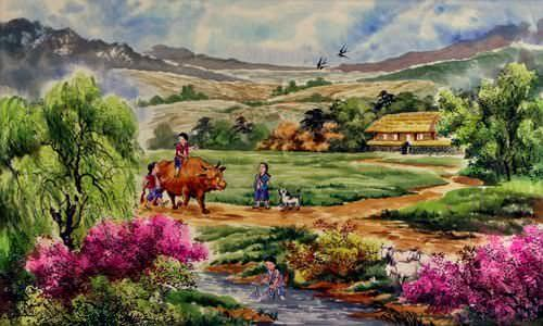"See how ""North Korean Village Field Painting"" would look after being professionally framed"