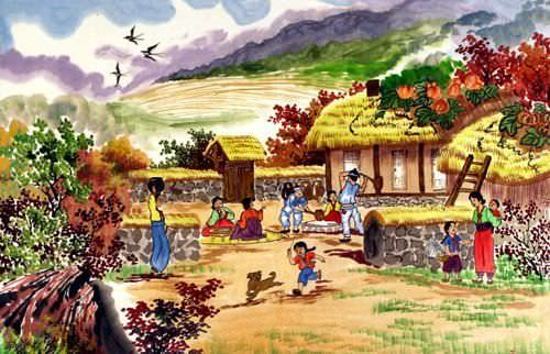 North Korean Village Scene Painting