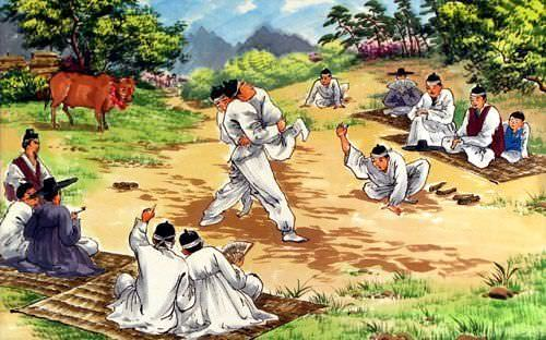 "See how ""North Korean Martial Arts Painting"" would look after being professionally framed"