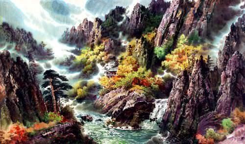 North Korean River Landscape Painting