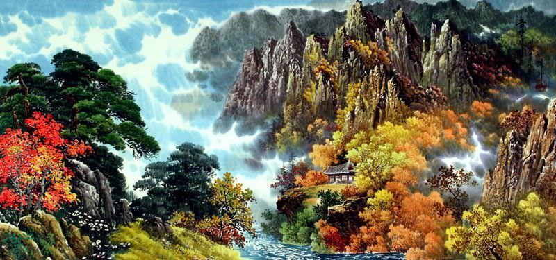 North Korean Autumn Landscape Painting