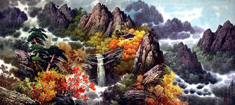 "See how ""North Korean Home by the Waterfall Painting"" would look after being professionally framed"