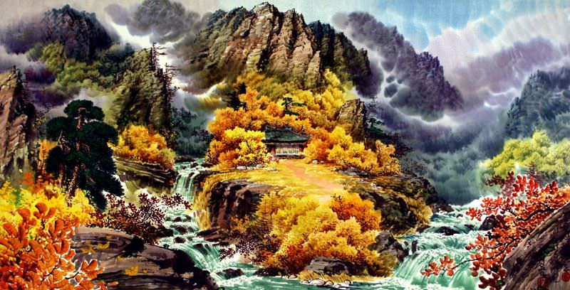 "See how ""North Korean Waterfall Home Painting"" would look after being professionally framed"