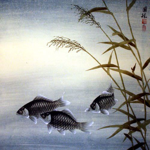 "See how ""Fish Flower - Chinese Painting"" would look after being professionally framed"