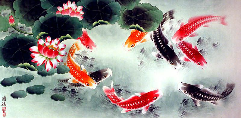Koi Fish and Lotus Flower - Oriental Art Painting