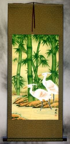 Big Egrets and Green Bamboo Wall Scroll