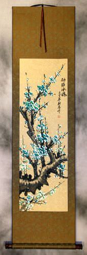 Colorful Aqua-Blue Plum Blossom Wall Scroll