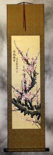 Chinese Pink Plum Blossom Wall Scroll
