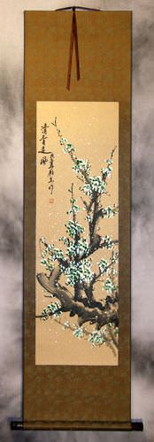 Green Plum Blossoms - Chinese Wall Scroll
