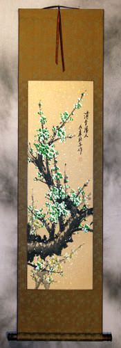 Green Plum Blossom - Chinese Wall Scroll