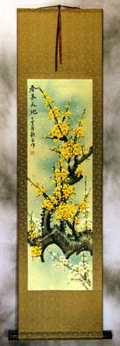 Colorful Golden-Yellow Plum Blossom Wall Scroll