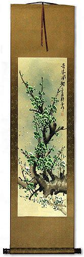 Poetic Green Plum Blossom Wall Scroll