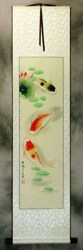Koi Fish Having Fun in Lotus Pond Wall Scroll