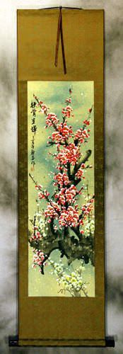Pink and White Plum Blossom Wall Scroll