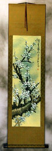 Fragrant Green Plum Blossom Wall Scroll