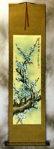 Springtime Green Plum Blossom Wall Scroll