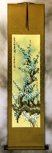 Blue Colorful Plum Blossom Wall Scroll