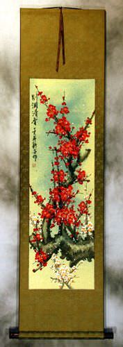 Red Colorful Plum Blossom Wall Scroll