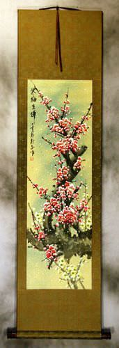 Colorful Pink Plum Blossom Wall Scroll