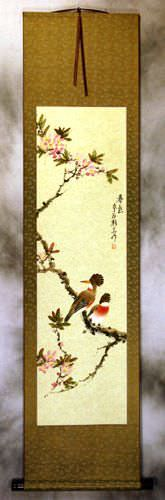 Spring Colors - Bird and Flower Wall Scroll