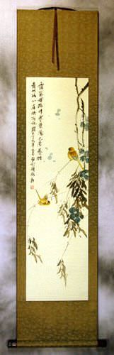 Winter Refuge in the Forest - Bird and Flower Wall Scroll