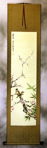 Enjoy the Beauty of Spring - Bird and Flower Silk Wall Scroll
