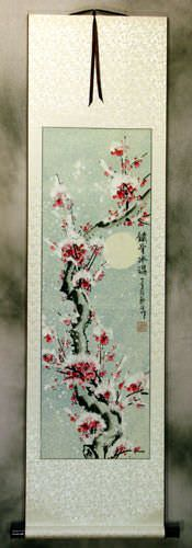 Blooming Chinese Snow Plum Blossoms Wall Scroll