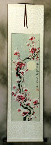 Chinese Plum Blossom in Snow Wall Scroll