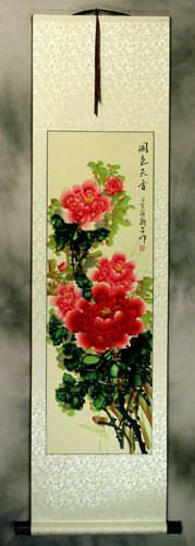 Red and Pink Peony Flower Wall Scroll