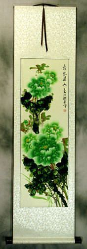 Peony Green Flower Chinese Wall Scroll