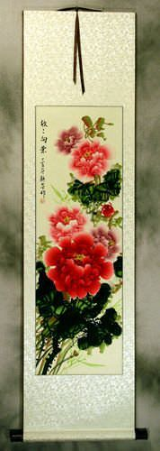 Prosperous Red and Pink Peony Flower - Silk Wall Scroll