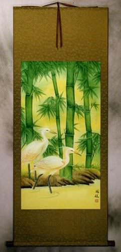 Chinese Egrets and Green Bamboo Wall Scroll
