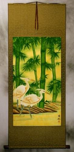 Large Egrets and Green Bamboo Wall Scroll