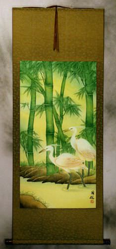 Asian Egrets and Green Bamboo Wall Scroll