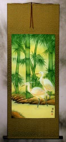 Big Cranes and Green Bamboo Wall Scroll
