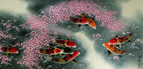 Koi Fish and Plum Blossoms - Asian Painting