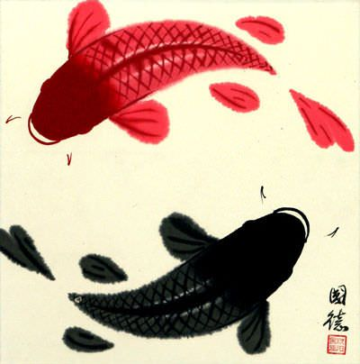 "See how ""Yin Yang Fish Painting"" would look after being professionally framed"