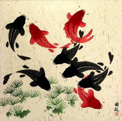 Large Koi Fish Painting on Grass-Fiber Paper
