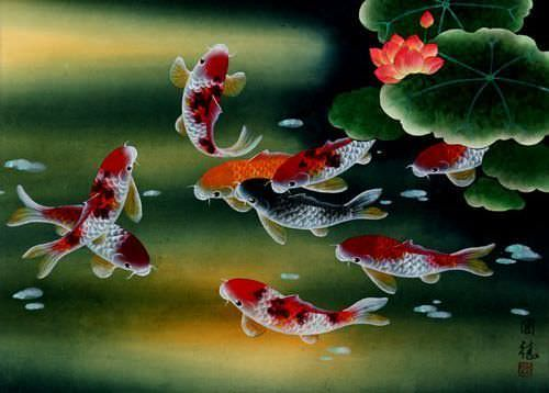 "See how ""Nine Koi Fish Masterpiece Painting"" would look after being professionally framed"