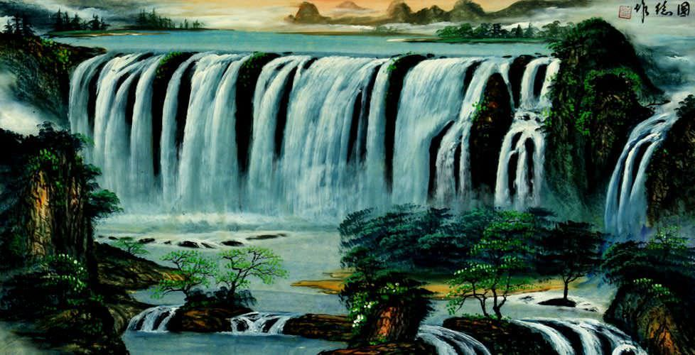 Big Waterfall Landscape Painting