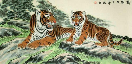 Chinese Tigers Take a Rest - Large Painting