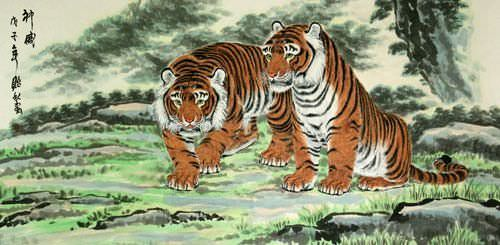 Invincible Might Chinese Tigers Large Painting