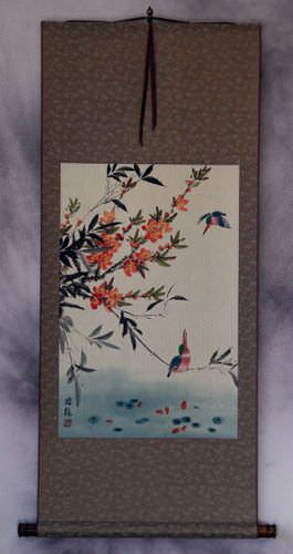 Bird and Flower Wall Scroll