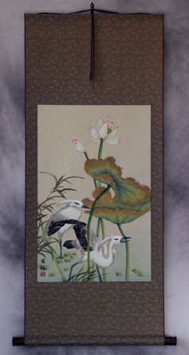 Egrets and Lotus Flower Wall Scroll