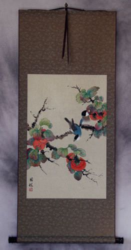 Birds and Persimmons Wall Scroll