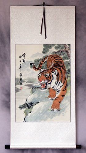 Invincible Might Chinese Tiger Wall Scroll