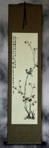 Birds on a Branch - Bird and Flower Chinese Wall Scroll