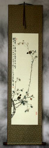 Birds and Persimmon Branch - Chinese Wall Scroll
