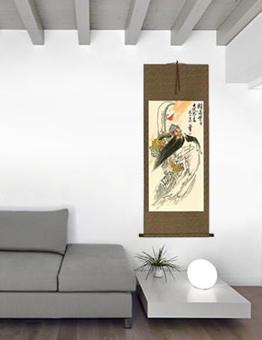 Righteous Patriot Warrior - Chinese Wall Scroll living room view