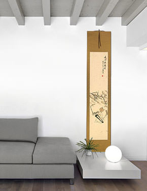 Old Man Playing the Guqin Among Plum Blossoms - Wall Scroll living room view